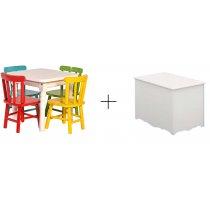 Jogo De Mesa Infantil Com 4 Cadeiras Disa Móveis+Baú Retro MóveisMatic