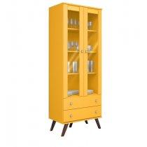 Cristaleira Retrô Amarelo 2 Portas E 2 Gavetas Movelbento