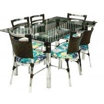 Jogo De Mesa Panero Com 6 Cadeiras Alumínio Móveis Famais