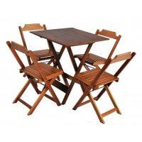 Jogo De Mesa 4 Cadeiras Dobrável 2º LinhaDe Madeira Klein